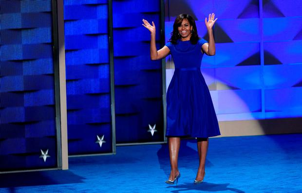 July 2016: US First Lady Michelle Obama gestures during Day 1 of the Democratic National Convention at the Wells Fargo Center in Philadelphia, Pennsylvania.