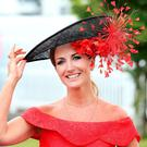TV Presenter Lorraine Keane at the Galway Races. Picture: Steve Humphreys