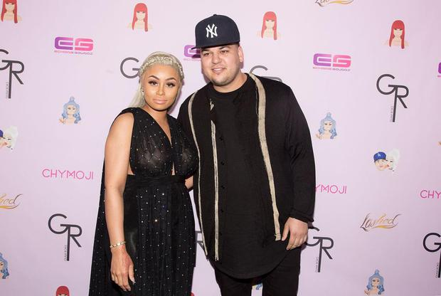 Blac Chyna (L) and Rob Kardashian arrive for her Blac Chyna's birthday celebration and unveiling of her