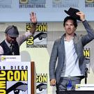 Moderator Chris Hardwick (L) and actor Benedict Cumberbatch attend the