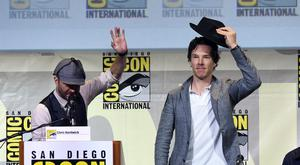 "Moderator Chris Hardwick (L) and actor Benedict Cumberbatch attend the ""Sherlock"" panel during Comic-Con International 2016 at San Diego Convention Center on July 24, 2016 in San Diego, California. (Photo by Kevin Winter/Getty Images)"