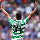 GLASGOW, SCOTLAND - JULY 23: Eoghan O'Connell of Celtic celebrates after he scores during the Pre Season Friendly match between Celtic and Leicester City at Celtic Park Stadium on July 23, 2016 in Glasgow, Scotland. (Photo by Ian MacNicol/Getty Images)