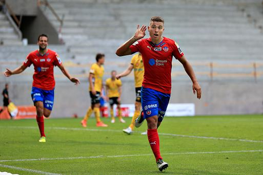 HELSINGBORG, SWEDEN - JULY 10: Jordan Larsson of Helsingborgs IF is celebrate his 2-1 goal during the Allsvenskan match between Helsingborgs IF and Elfsborg at Olympia on July 10, 2016 in Helsingborg, Sweden. (Photo by Lars Dareberg/Ombrello via Getty Images)