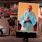 Scene of the attack and (inset) Father Jacques Hamel