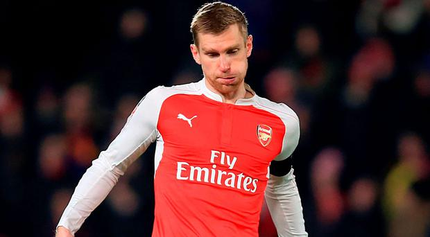 Arsenal defender Per Mertesacker will be out for