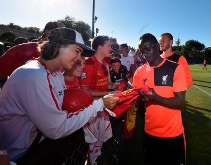 Sadio Mane of Liverpool during a signing session after the training session
