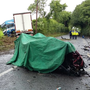 The devastating scene of crash which resulted in the death of a young man in his twenties