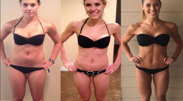 Kelsey Wells highlighted the different stages of her weight loss in an Instagram post. Photo: My Sweat Life