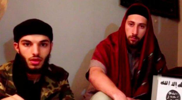 Adel Kermiche, left, with another man, in a still from a video published by the Isis propganda agency Amaq, in which it is claimed the pair pledged allegiance to the group
