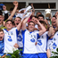 Waterford players celebrate with the cup following their Bord Gáis Energy Munster GAA Hurling U21 Championship Final victory over Tipperary at Walsh Park . Photo by Stephen McCarthy/Sportsfile