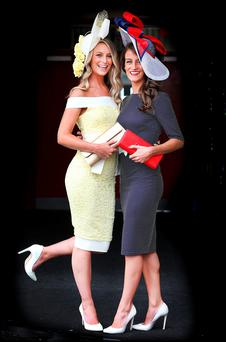 Enjoying the Galway Races at Ballybrit were sisters Gabrielle and Barbara Dunne from Oranmore, Co. Galway. Picture: Steve Humphreys