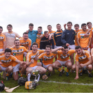 Antrim following their victory after their Bord Gais Energy Ulster GAA Hurling U21 Championship Final win over Derry and Antrim at Loughgiel Shamrocks GAA Club in Belfast. Photo by David Fitzgerald/Sportsfile