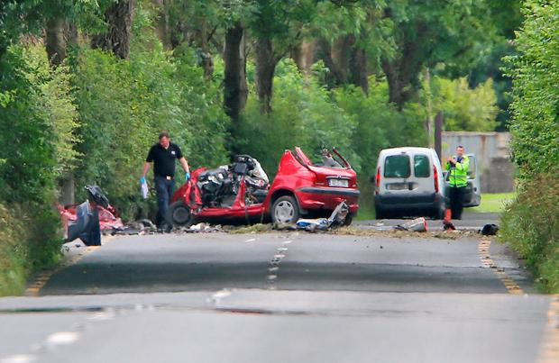 The scene on the Clane to Baltracey Road in Co Kildare. Photo: Colin Keegan