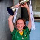 Kerry captain Ciara O'Brien celebrates. Photo: Piaras Ó Mídheach/Sportsfile