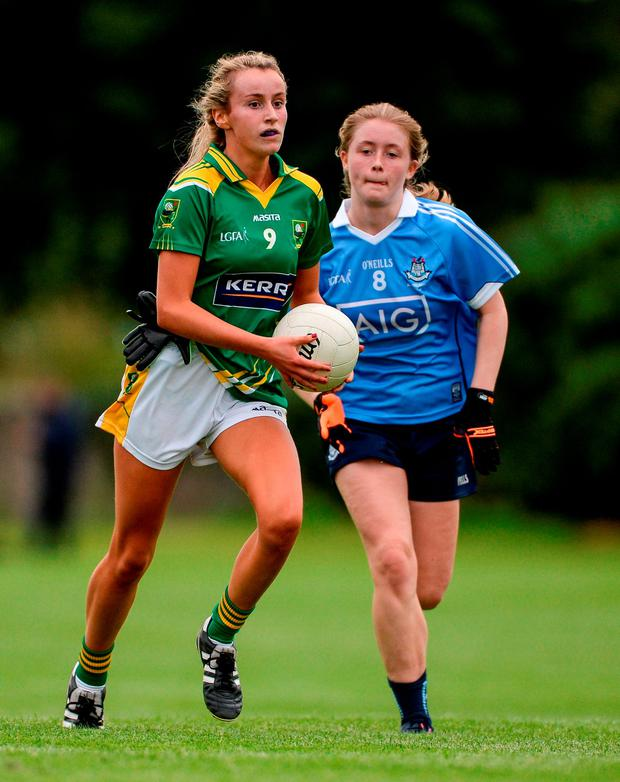 Kerry's Bríd Ryan of Kerry in action against Dublin's Gráinne O'Driscoll. Photo: Piaras Ó Mídheach/Sportsfile