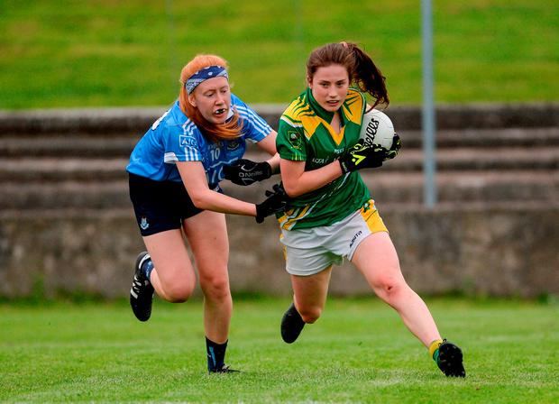 Kerry's Hannah O'Donoghue in action against Dublin's Jodi Egan. Photo: Piaras Ó Mídheach/Sportsfile