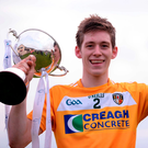 Antrim captain Damon McMullan following his side's victory after the Bord Gais Energy Ulster GAA Hurling U21 Championship Final. Photo: David Fitzgerald/Sportsfile