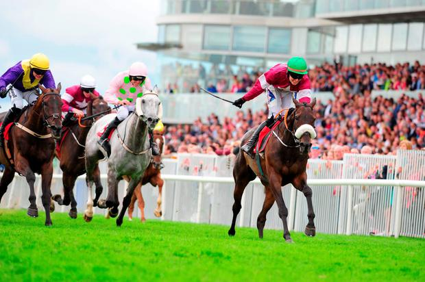 Lord Scoundrel, with Donagh Meyler up, on the way to winning the Galway Plate. Photo: PA Wire.