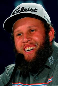 "In the media centre on the eve of the season's final Major, the voice on the Tannoy announced: ""Andrew 'Beef' Johnston is entering the interview room"". Photo: Getty"