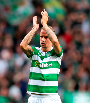 Just when it looked like Celtic would be content enough with a narrow defeat Griffiths (pictured) struck to score the vital away goal,