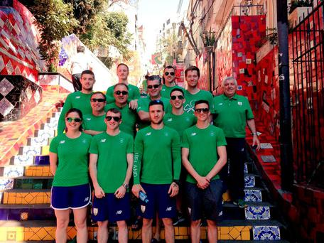 Members of the Irish Olympic team – including boxers Michael Conlan and Paddy Barnes – on the Selaron Steps in Rio, Brazil, yesterday
