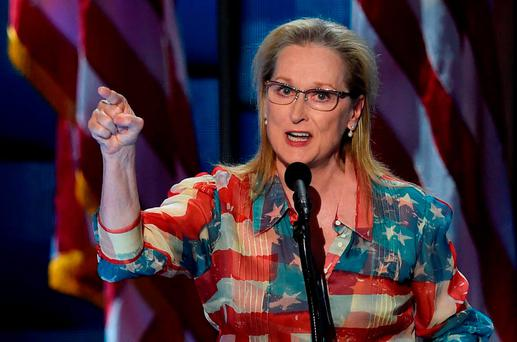 Actress Meryl Streep addresses the second evening session of the Democratic National Convention in Philadelphia, Pennsylvania. Photo: Getty