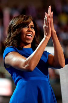 First lady Michelle Obama delivered an acclaimed speech on the first night of the Democratic Convention. Photo by Joe Raedle/Getty Images