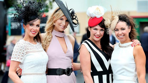Sophie Small, Michelle Murphy, Daniella Gardiner and Denise Pia at the Galway Races. Picture: Steve Humphreys