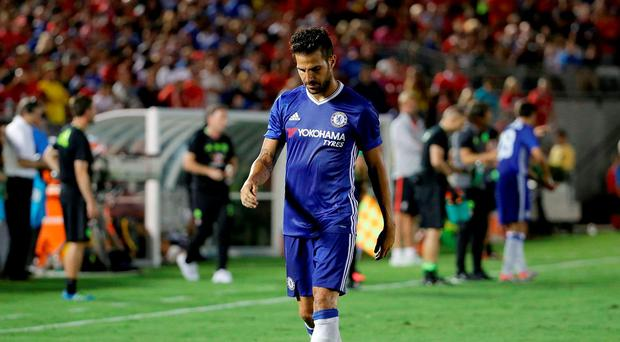 Cesc Fabregas #4 of Chelsea is sent off in the second half after receiving a red card against Liverpool during the 2016 International Champions Cup at Rose Bowl in Pasadena, California. Chelsea defeated Liverpool 1-0. (Photo by Jeff Gross/Getty Images)