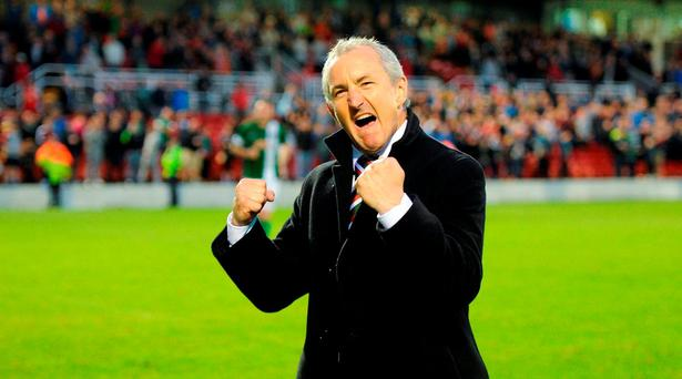 Cork City manager John Caulfield celebrates after the UEFA Europa League Second Qualifying Round 2nd Leg match between Cork City and BK Hacken at Turner's Cross in Cork last week. Photo by Diarmuid Greene/Sportsfile