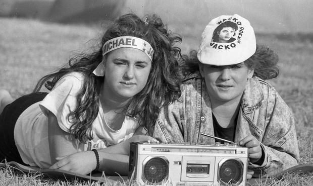 Fans at the Michael Jackson concert held at Pairc ui Chaoimh (Part of the Independent Newspapers Ireland/NLI Collection).