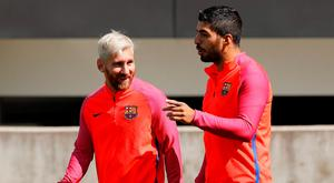 Barcelona's Luis Suarez and Lionel Messi during training this week Reuters / Darren Staples