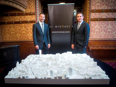 Football stars Ryan Giggs (left) and Gary Neville unveil their multimillion-pound plans to build two new skyscrapers in central Manchester housing a 5-star hotel and luxury apartments, after a press conference in the city. Danny Lawson/PA Wire