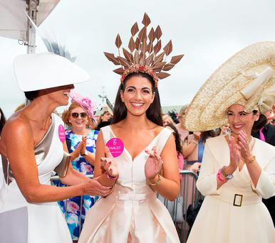 Garda Ciara Murphy, from Dunboyne, winner of the g Hotel & Spa Best Hat competition for Ladies Day at t he Galway Races. Photo: Andrew Downes, Xposure