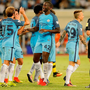 Manchester City celebrate after Sergio Aguero scores the first goal during the 2016 International Champions Cup against Borussia Dortmund at Shenzhen Universiade Stadium (Photo by Lintao Zhang/Getty Images)