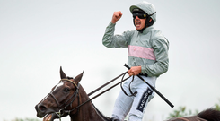 Ruby Walsh shows his delight after capturing his first Galway Plate aboard Clondaw Warrior at Ballybrit yesterday. Photo: Sportsfile