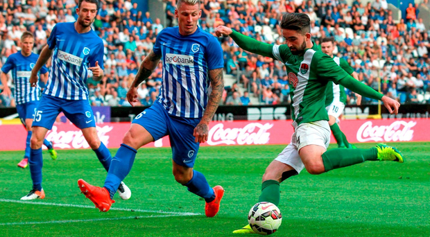 Sean Maguire of Cork City in action against Sebastien Dewaest of KRC Genk during the UEFA Europa League Third Qualifying Round 1st Leg match between. Photo by Christian Deutzmann/Sportsfile