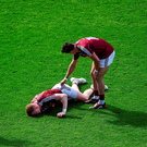 David Lynch, right, consoles team-mate Ray Connellan after he got injured during the Leinster GAA Football Senior Championship Final match between Dublin and Westmeath. Photo: Sportsfile