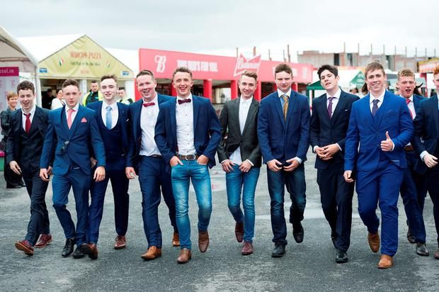A group of friends from Mayo arrive at the racecourse. Photo: Andrew Downes