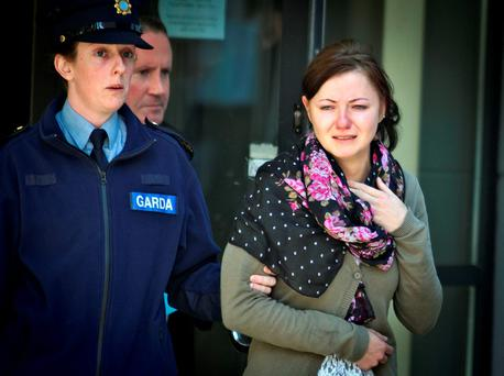 A tearful Martha Herda is charged with murder in 2014. Picture: Garry O'Neill