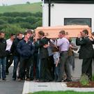 Removal of jockey John Thomas McNamara, leaving his home in Toureen, Croom, Co Limerick this evening