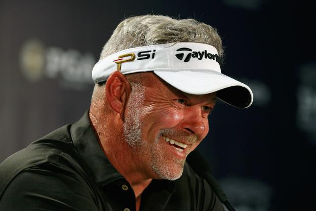 Darren Clarke is interviewed by the media during a press conference at Baltusrol (Photo by Scott Halleran/Getty Images)