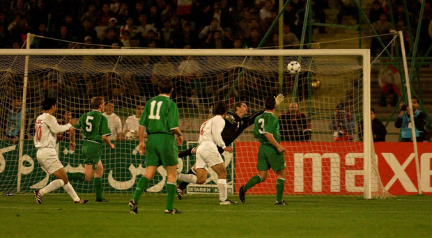 Shay Given makes a save from Iran's Ali Karimi against in 2001