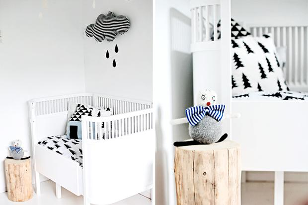 Baby's nursery decorated in contrasting black and white. Photo: Forever Love