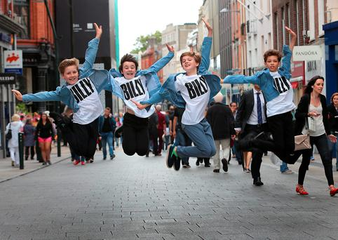 Billy Elliot cast members Lewis Smallman,Matthew Lyons,Haydn May and Adam Abbou from the West End and Broadway phenomenon Billy Elliot in Grafton Street , Dublin as they celebrated the shows arrival in Dublin for the first time! Billy Elliot the Musical will play at the Bord Gais Energy Theatre from July 26th to September 3rd.