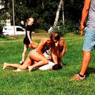 Swedish police officer Mikaela Kellner is pinning a man to the ground who is suspected to have stolen a friend's mobile phone (Jenny Kitsune Adolfsson via AP)