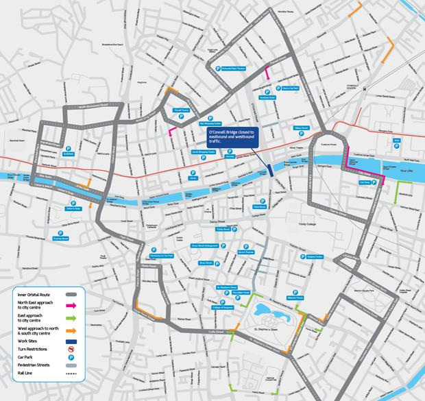 O'Connell Bridge diversion routes over the August bank holiday. Photo: Luas Cross City