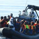 LÉ James Joyce rescues migrants from the water north west of Tripoli. File picture