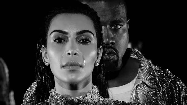 Kanye West and Kim Kardashian in the video for 'Wolves'. Photo: YouTube/Kanye West