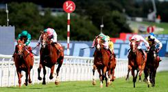 Kings Fete (second left), with Ryan Moore up, on the way to winning the Betfred Glorious Stakes ahead of Ayrad (left), ridden by Frankie Dettori, at Goodwood Photo credit: John Walton/PA Wire